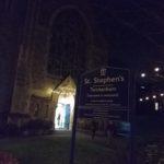 Lighted church door of St Stephen's church, Twickenham
